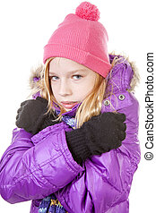 young girl in winter outfit heaving cold over white background