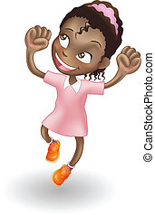 An illustration of a young black girl jumping for joy