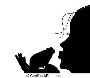 young girl kisses a frog - Silhouette of a young girl kisses...