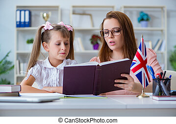 Young girl learning english with teacher