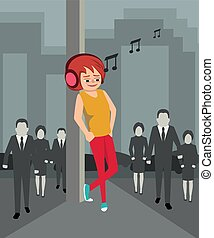 young girl listening to music in the city background vector ...