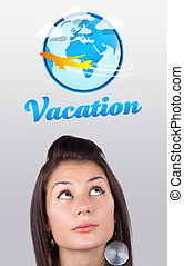 Young girl looking at vacation type of sign