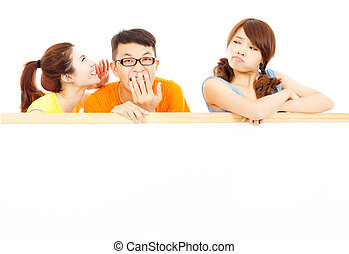 young girl make a funny expression with friends
