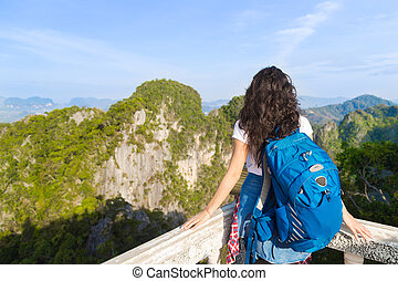 Young Girl Mountains Cave Looking Landscape Back Rear View Tourist Woman Summer Vacation