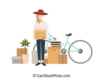 Young girl moving into a new house with things. Cartoon...