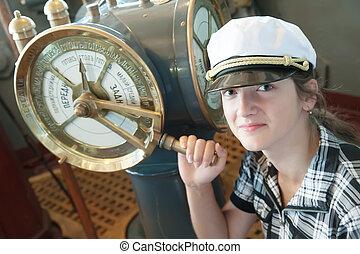girl near speed telegraph transmitter - young girl near...