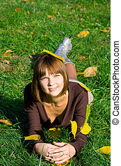 young girl on a green grass 3