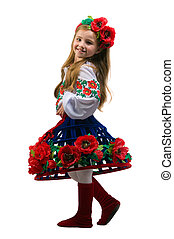 young girl on a white background