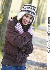 Young Girl On Autumn Walk