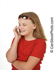 young girl on mobile cell phone