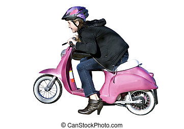 Young Girl on Motorcycle