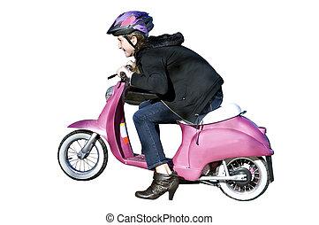 Young Girl on Motorcycle