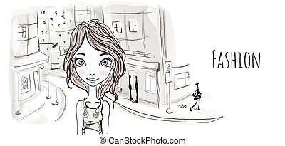 Young girl on the street of an old European city. Vector...