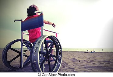 young girl on the wheelchair