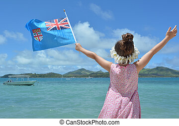 Young girl on travel holiday vacation in Fiji