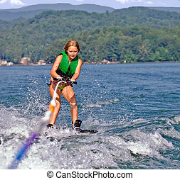 Young Girl on Trick Skis
