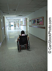 Young girl on wheelchair