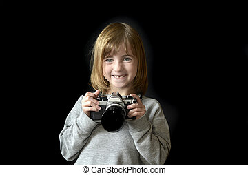 Young Girl Photographer with Old Camera