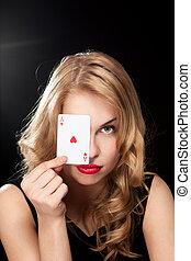 young girl playing in the gambling