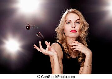 young girl playing in the gambling in casino