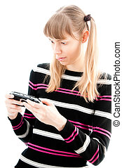 young girl playing video game
