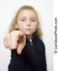 Young girl pointing 1 - Five year old female pointing an...