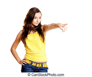 Young girl pointing
