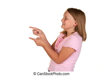 young girl pointing on white
