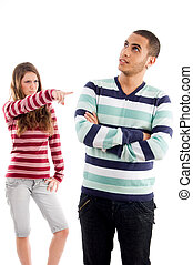 young girl pointing to boy