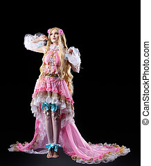 Young girl posing in fairy-tale cosplay costume