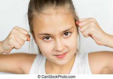 Young girl posing on white background isolated
