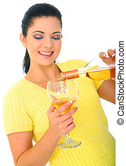 Young Girl Pouring Wine