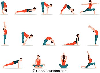 Young Girl Practicing Yoga, Set of Different Poses