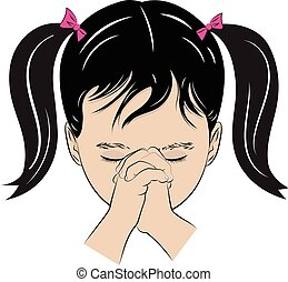 Young Girl Praying - A color vector drawing of a little girl...