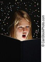 Young Girl Reading a Fantasy Book