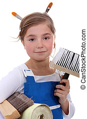Young girl ready to decorate