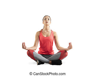 Young girl relaxing in yoga position. Isolated on white background