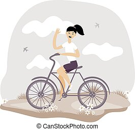 Young girl rides a bicycle. Vector illustration.