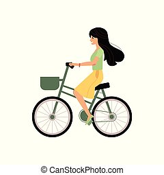 Young girl riding bicycle with basket isolated on white background.