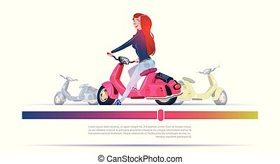 Young Girl Riding Electric Scooter Red Vintage Motorcycle Template Banner With Copy Space
