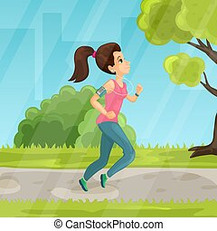 Young girl running in the park vector flat illustration