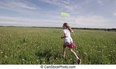 Young girl running with butterfly net