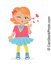Young Girl Sent Air Kiss Isolated on White. Vector