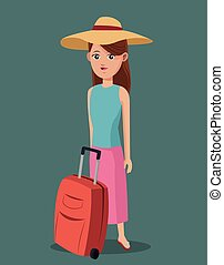 young girl shirt hat suitcase traveling