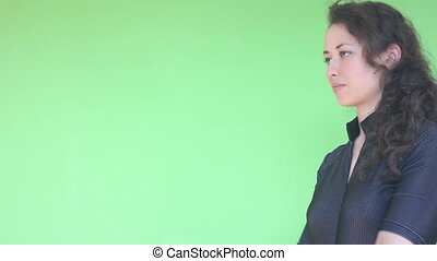 young girl shotting with gun, green