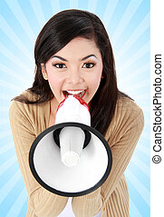 young girl shouting in megaphone