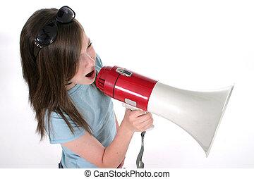 Young Girl Shouting Through Megaphone 4