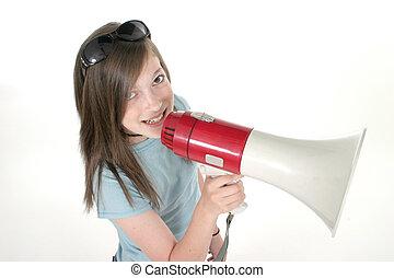 Young Girl Shouting Through Megaphone 5
