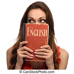 young girl show an English textbook
