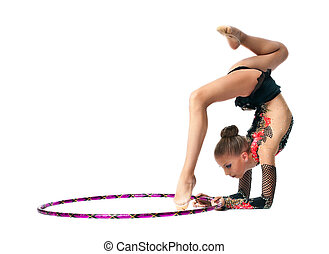 Young girl show gymnastics dance with hoop - Young teenager ...